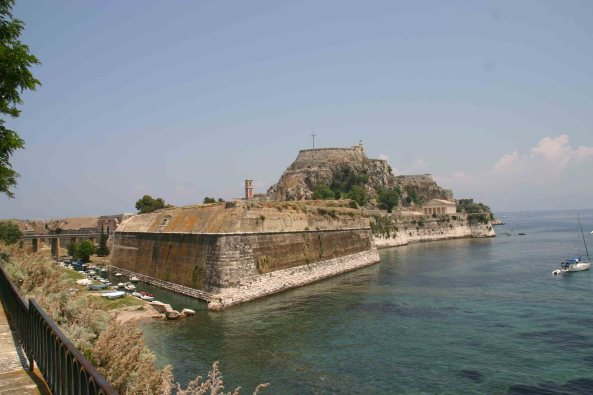 Old Venetian Fortress in Corfu Town, now alive with Agamas