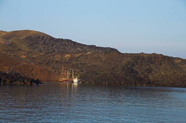 View of the caldera from the boat leaving Santorini (C) Matt Wilson
