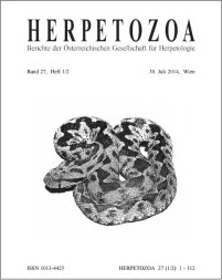 Cover for Volume 27 of herpetozoa, with one of photos digitally enhanced as a drawing (C) herpetozoa 2014